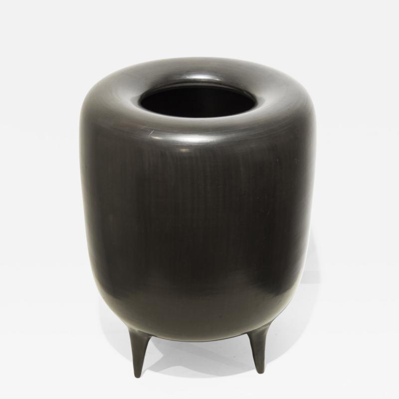 Gio Ponti Bucchero Vase by Gio Ponti Rossi ceramic circa 1950