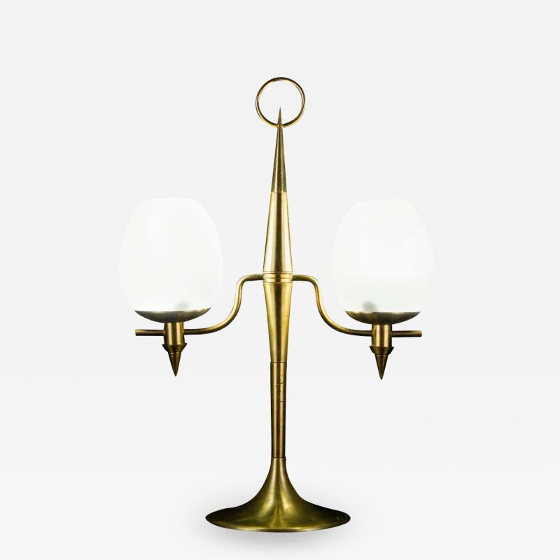 Gio Ponti Elegant Brass and Opaline Murano Glass Table Lamp Attributed to Gio Ponti