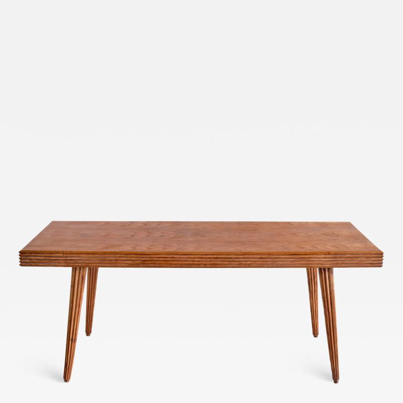 Gio Ponti Exceptional Gio Ponti Rectangular Dining Table in Fluted Walnut Italy 1940s