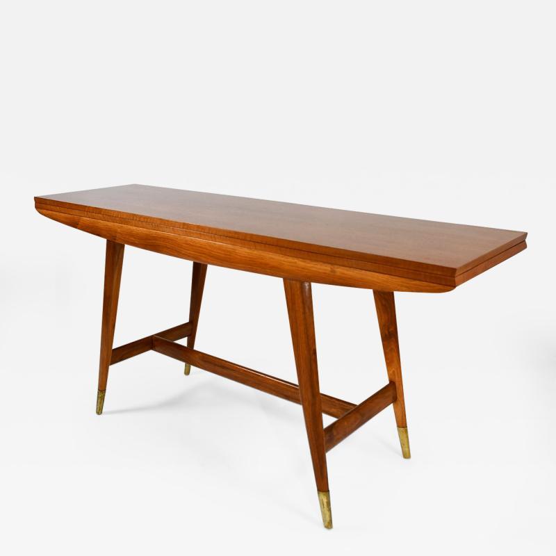 Gio Ponti Flip top console table in walnut brass