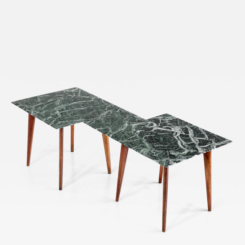 Gio Ponti Geometric Italian 1940s Coffee Table with Marmo Verde Alpi Marble Top