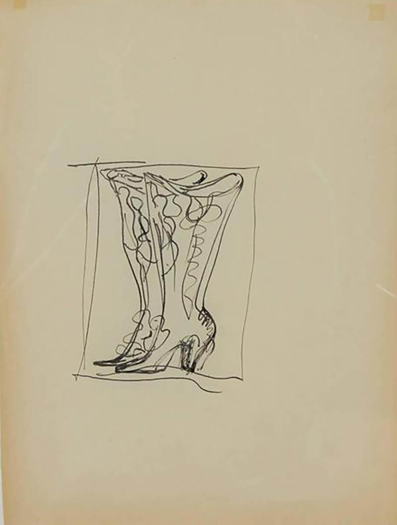 Gio Ponti Gio Ponti Drawing of Boots for Christofle Paris 1956
