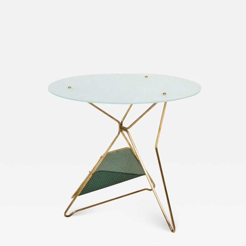 Gio Ponti Gio Ponti Italy Artful Italian Brass Side Table with Green Magazine Holder 1950s