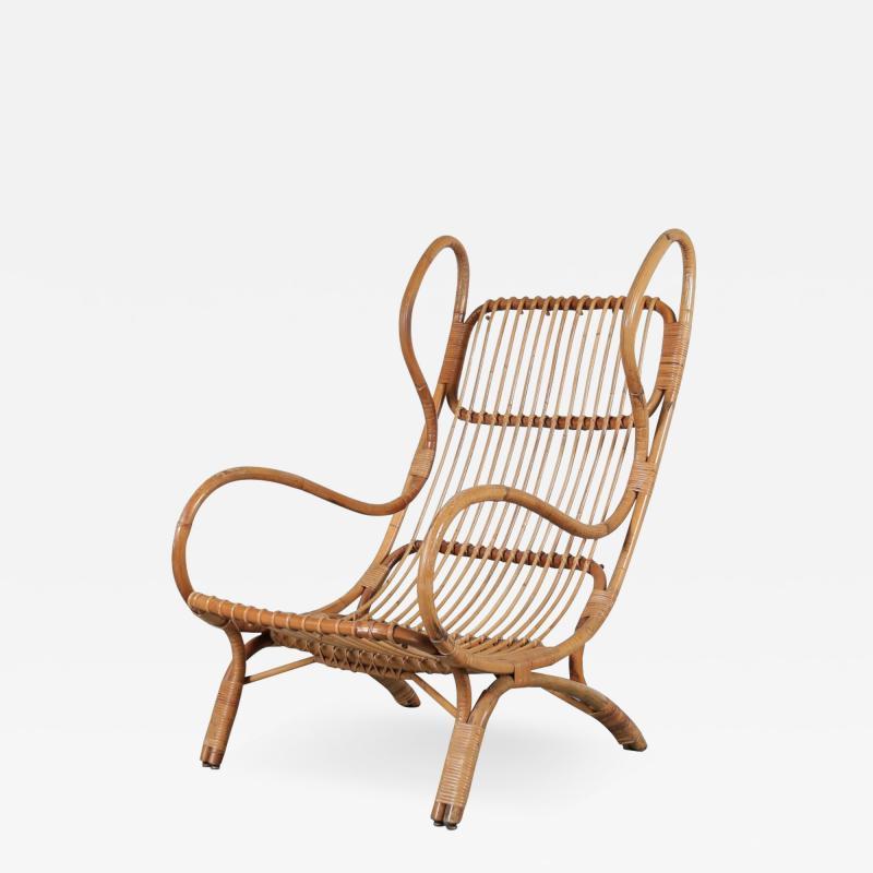 Gio Ponti Gio Ponti Rattan Easy Chair for Bonacina Italy 1950