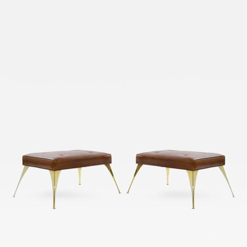 Gio Ponti Gio Ponti Style Benches in Cognac Leather