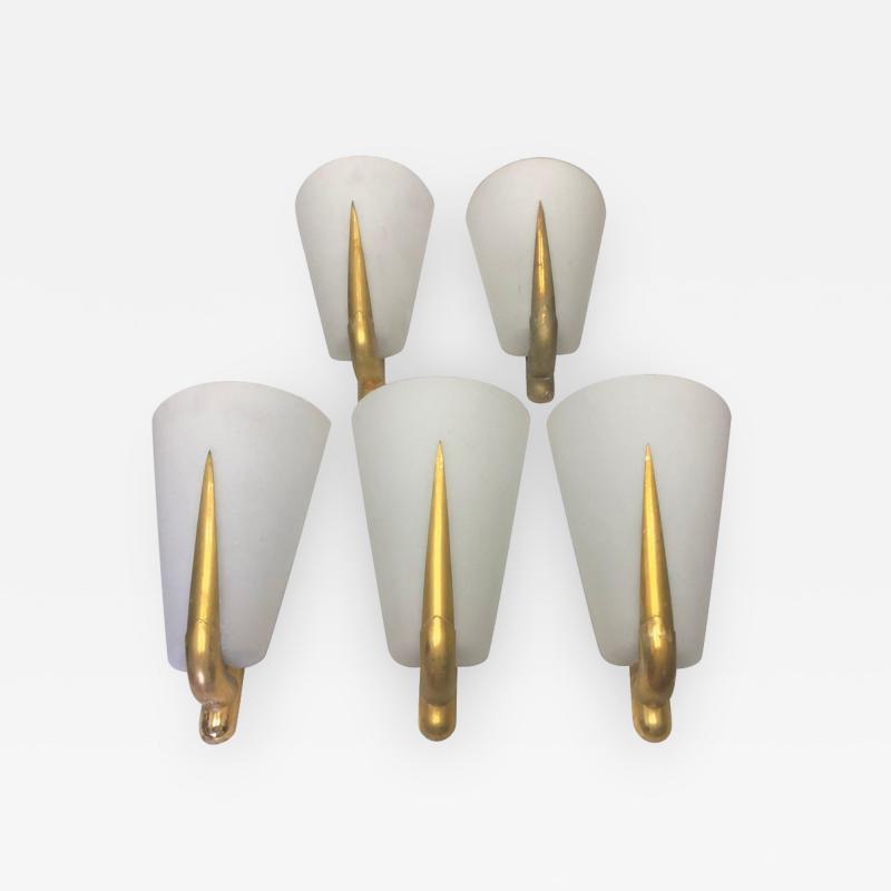 Gio Ponti Gio Ponti Style Mid Century Modern Brass and Glass Wall Sconces