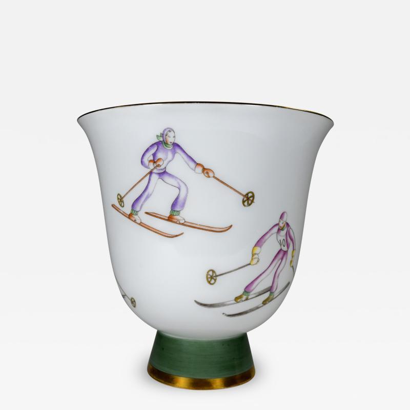 Gio Ponti Gio Ponti for Richard Ginori Vase with Ski Theme