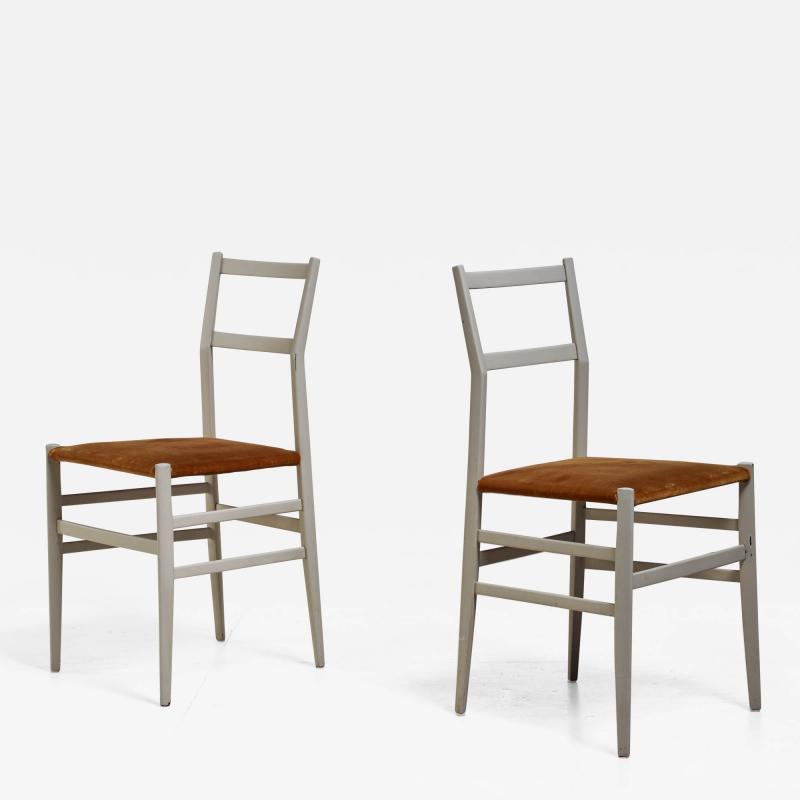 Gio Ponti Gio Ponti pair rare grey Leggera chairs Italy 1950s