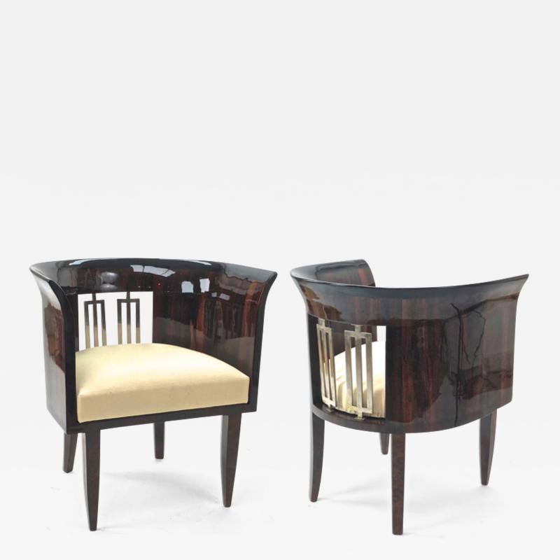 Gio Ponti Gio Ponti rarest art deco pair of arm chair with silver bronze back insert