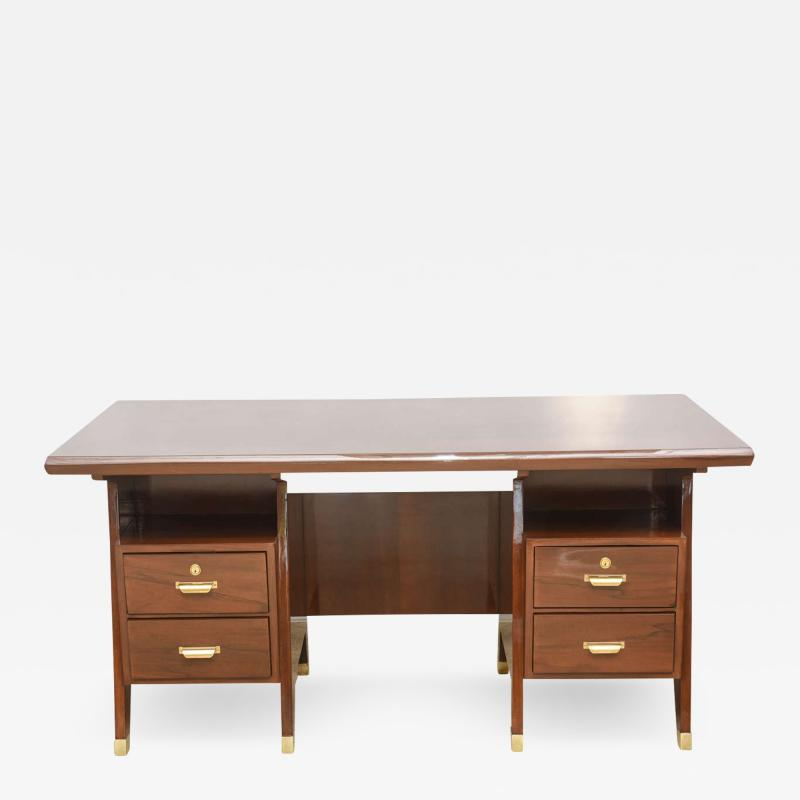 Gio Ponti Italian Modern Walnut and Brass Executive Desk Gio Ponti