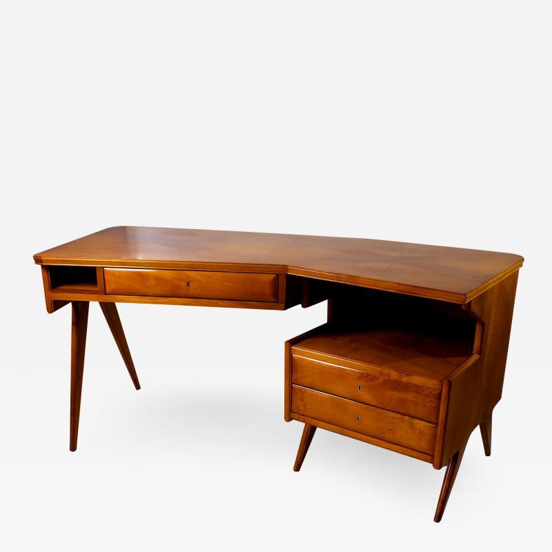 Gio Ponti Italian Modern Walnut and Rootwood Desk attributed to Gio Ponti