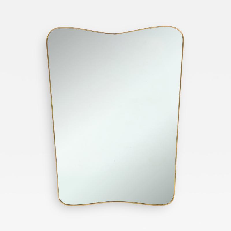 Gio Ponti Large Mid Century Italian Brass Framed Mirror Gio Ponti Style