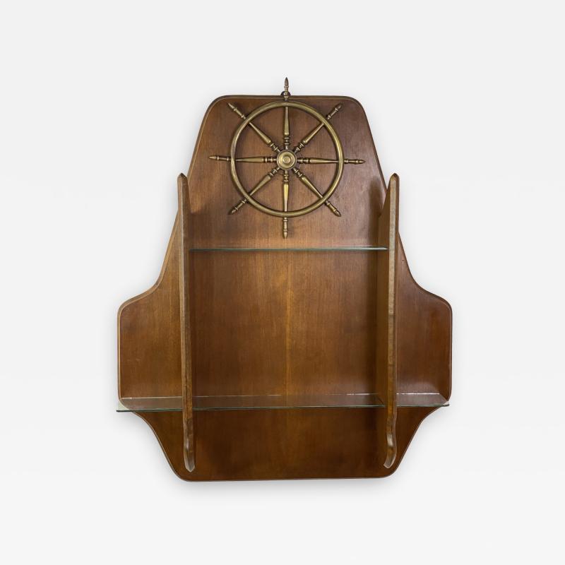 Gio Ponti MID CENTURY MODERN ITALIAN BRASS SHIPS WHEEL WALL SHELF