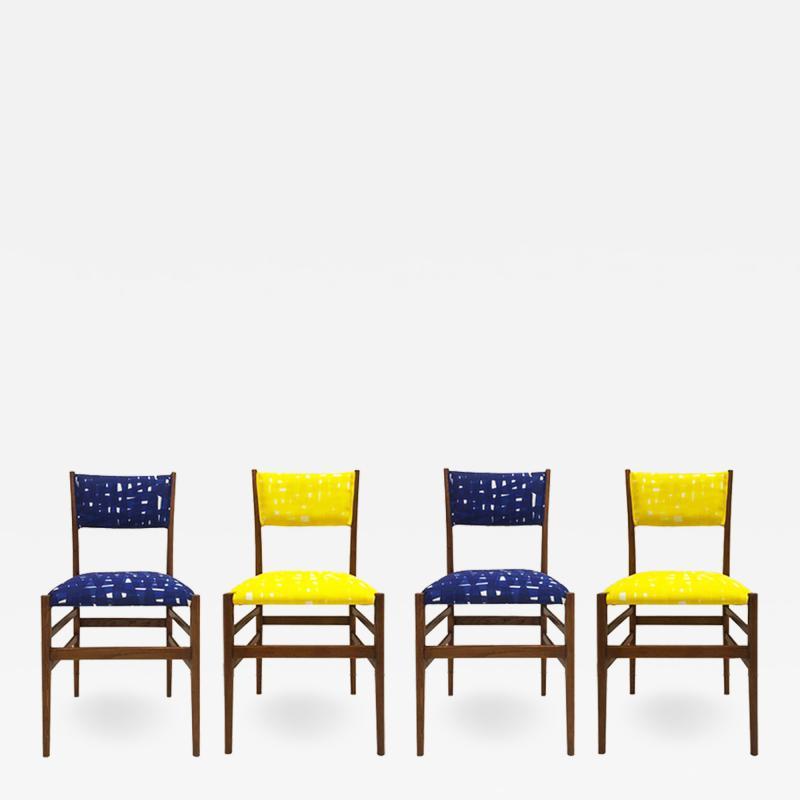 Gio Ponti Mid Century Modern Gio Ponti Set of Four Leggera Ash Wood Italian Chairs 1951