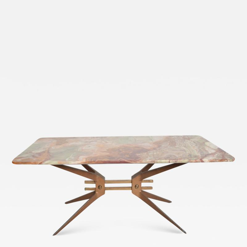 Gio Ponti Mid Century Modern Italian Coffee Table with Marble Top After Gio Ponti