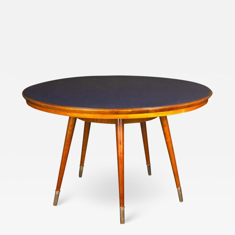 Gio Ponti Midcentury Blue Top Dining or Center Table in the style of Gio Ponti