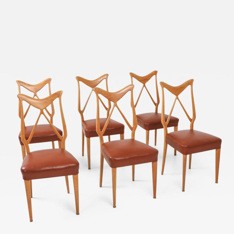 Gio Ponti Oak Leather Dining Chairs in the style of Ponti 1970s