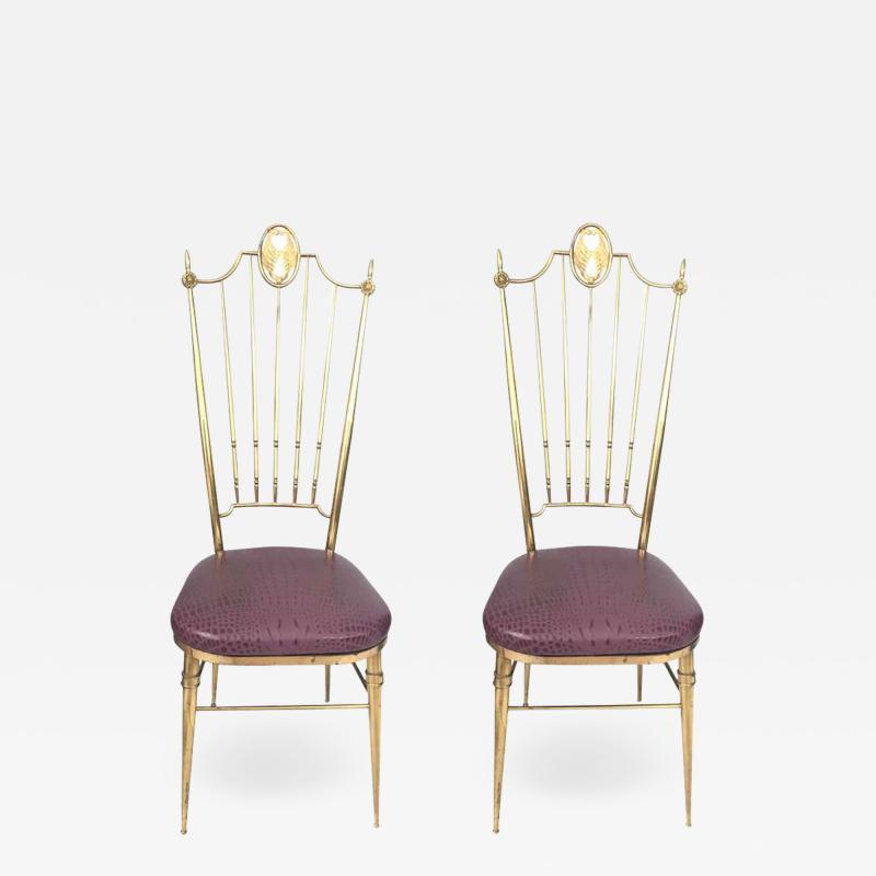 Gio Ponti Pair of High Back Italian Brass Chairs