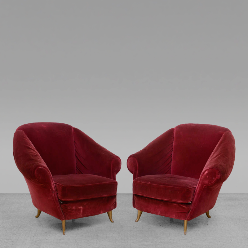 Gio Ponti Pair Of Italian Modern Lounge Chairs Gio