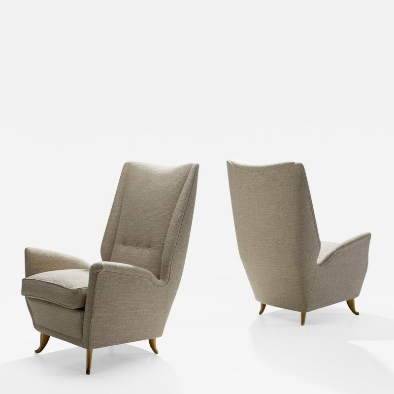 Gio Ponti Pair of Lounge Chairs Attributed to Gio Ponti for ISA Bergamo Italy 1950s