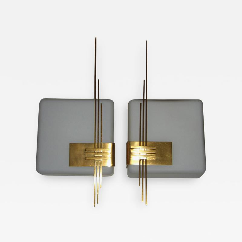 Gio Ponti Pair of Mid Century White Glass Wall Lights with Gold Plated Embellishment