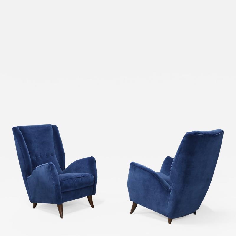 Gio Ponti Pair of MidCentury armchairs Attributed by Gio Ponti in velvet 1950s