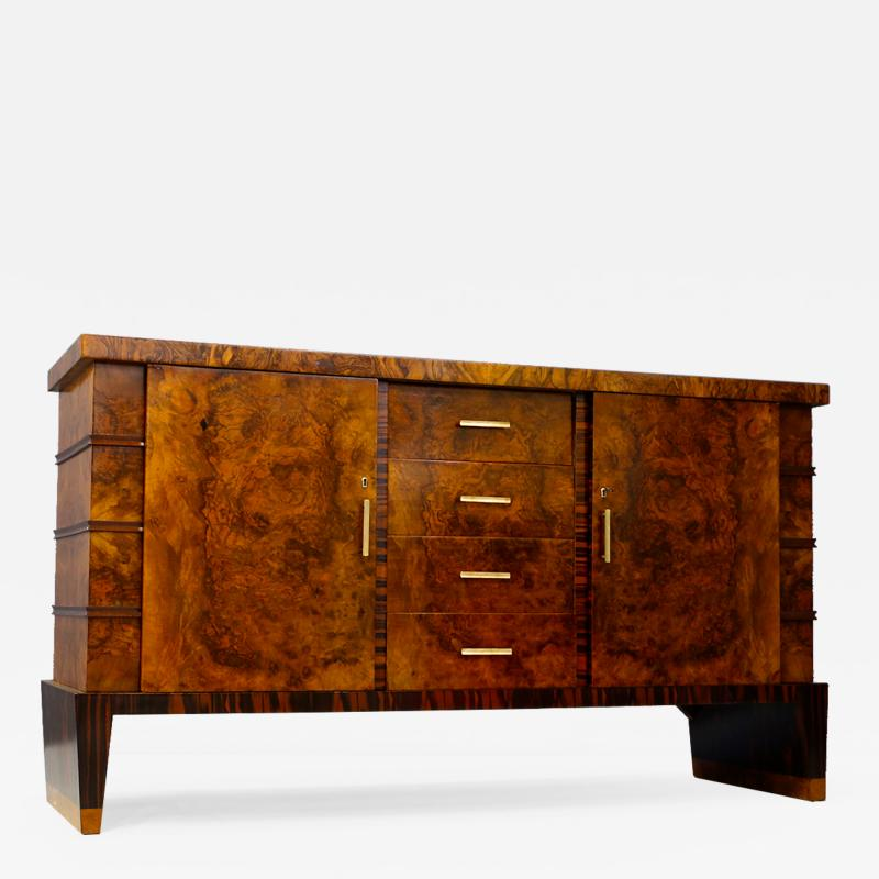 Gio Ponti Sideboard MidCentury in Walnut briar and brass attributed to Gio Ponti 1950s