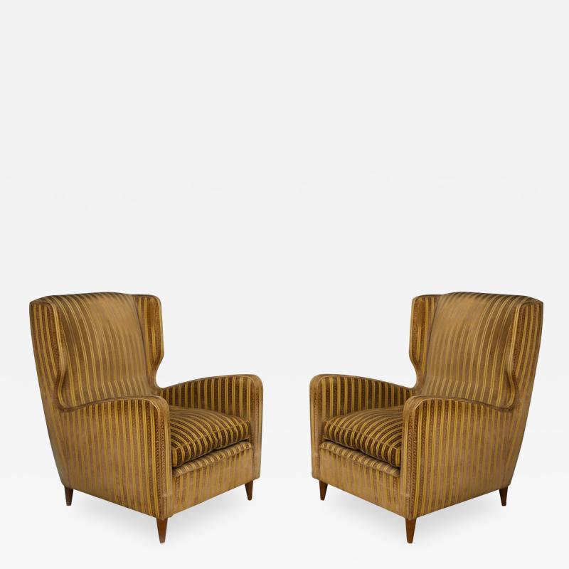 Gio Ponti rare armchairs from Gio Ponti 40s original fabric of the time
