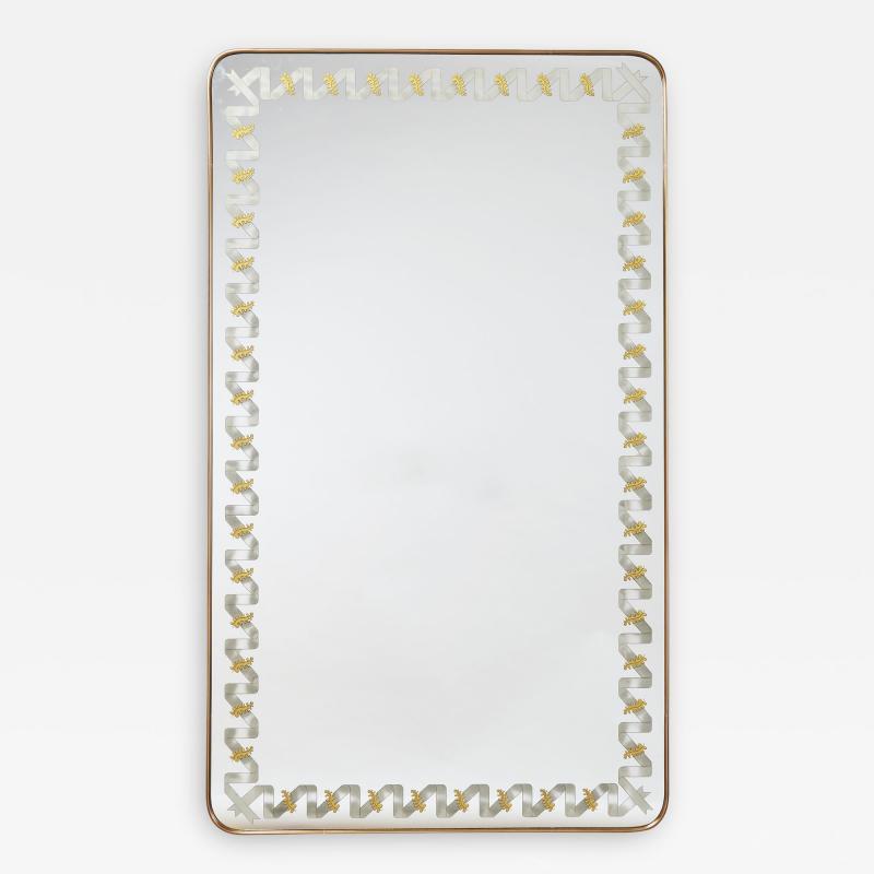 Giovanni Gariboldi Giovanni Gariboldi Mirror with Engraved Oak Leaf Motif Italy 1940s