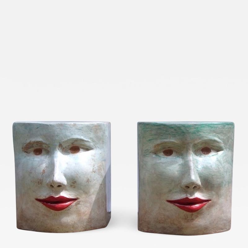 Giovanni Ginestroni Contemporary Italian Pop Art Blue Green Terracotta Face Stools Side Tables