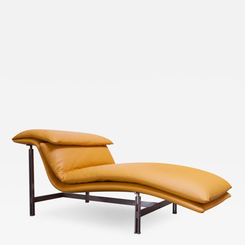 Giovanni Offredi Postmodern Leather Wave Chaise by Giovanni Offredi for Saporiti
