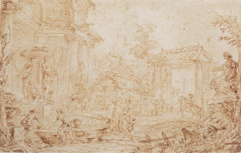 Giovanni Paolo Panini Figures in an Italianate Landscape
