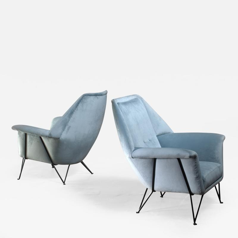 Giulia Veronesi Pair of I S A Bergamo lounge chairs Italy 1950s