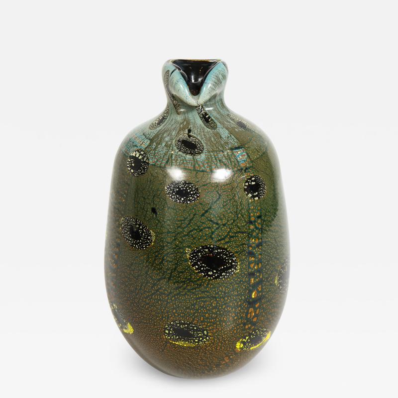 Giulio Radi Giulio Radi Black Glass Vase with Gold Foil ca 1950