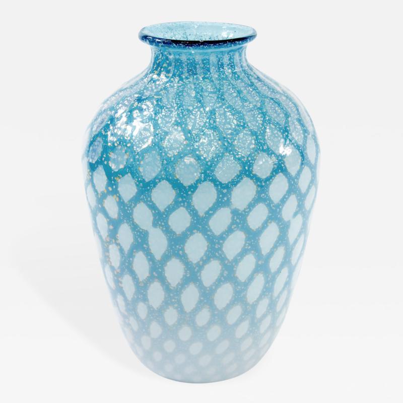 Giulio Radi Hand Blown Aqua Glass Vase by Giulio Radi