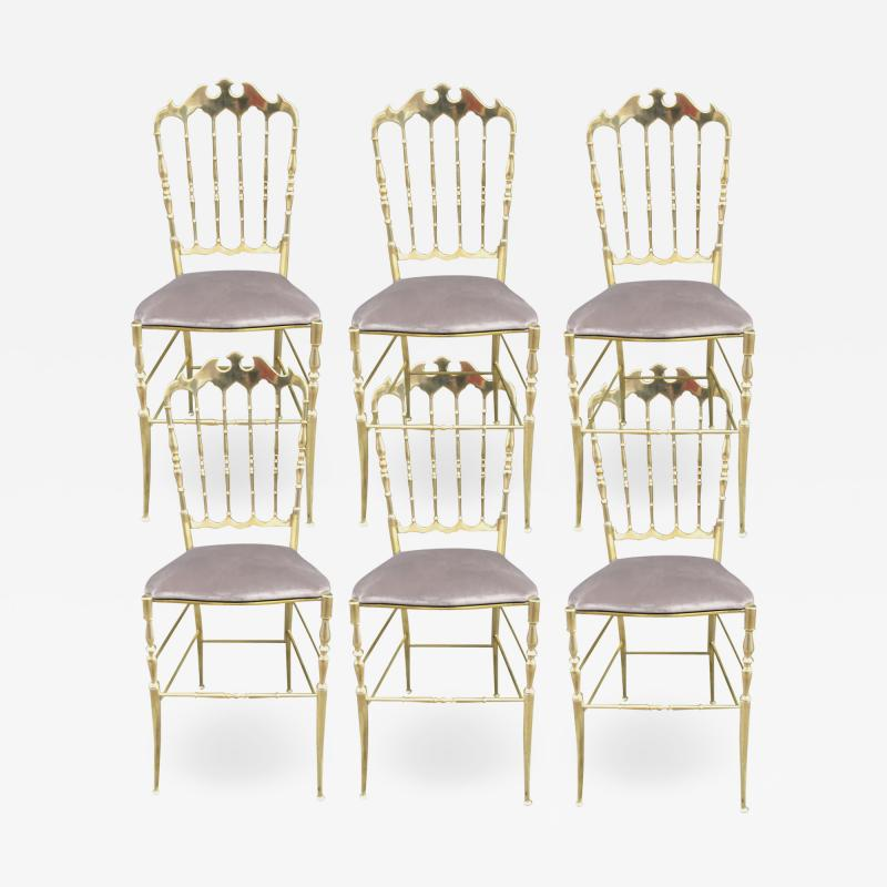 Giuseppe Gaetano Descalzi Set of chairs in turned and polished brass Chiavari Italy circa 1960