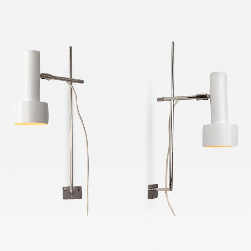 Giuseppe Ostuni Pair of 1960s Adjustable Wall Lights Attributed to Giuseppe Ostuni