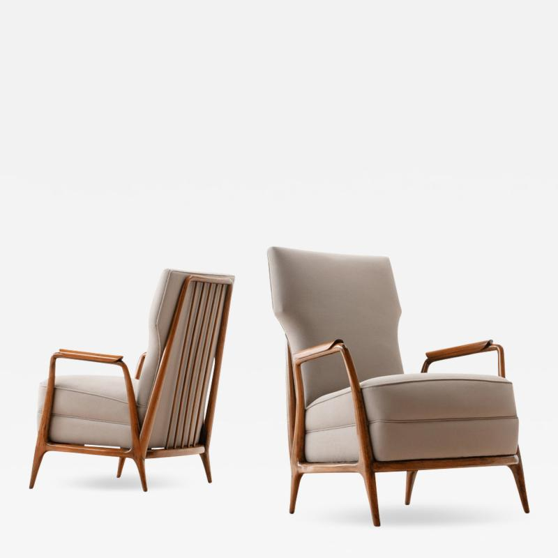 Giuseppe Scapinelli Pair of Giuseppe Scapinelli High Back Chairs in Caviuna Wood Brazil 1950s
