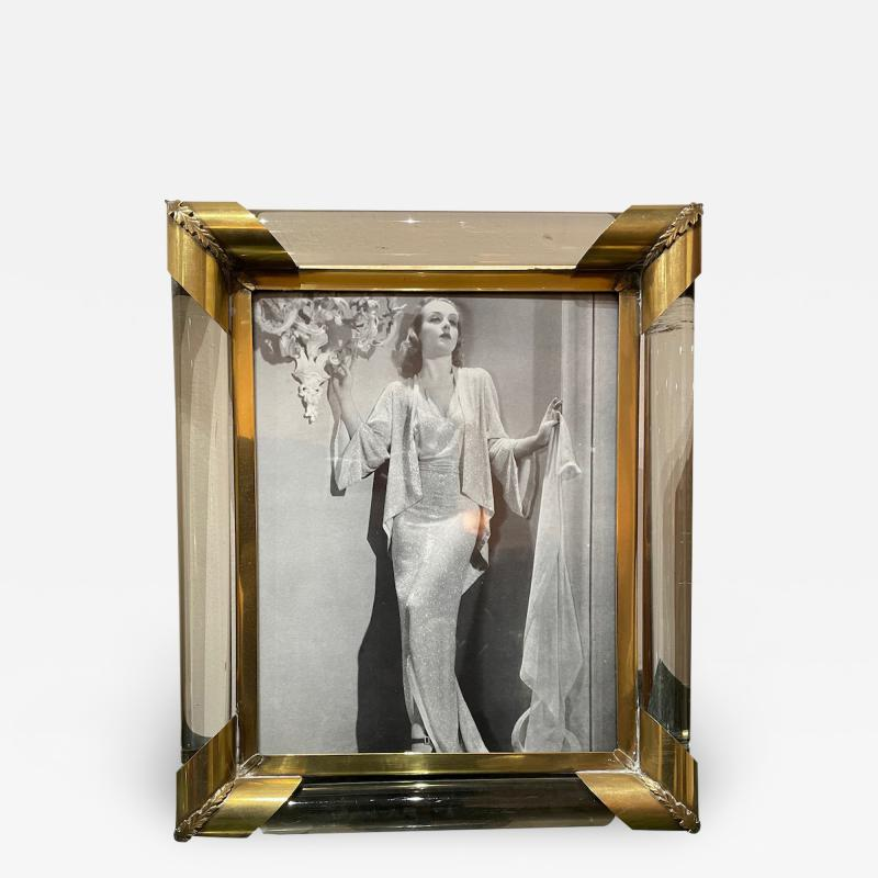 Glamorous Art Deco Glass and Brass Picture Frame