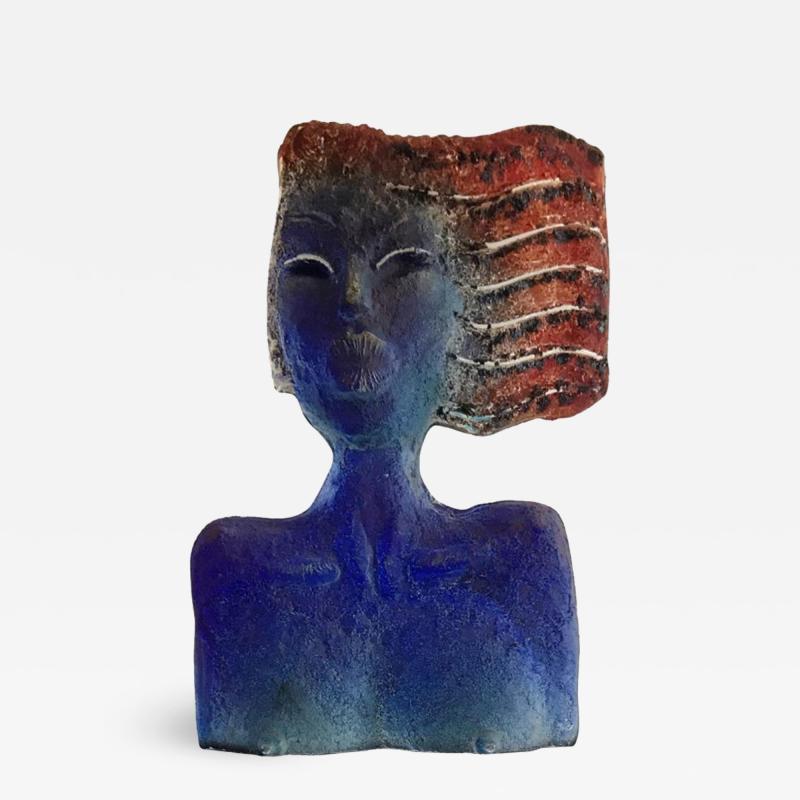 Glass Sculpture of a Woman Bust on a Metal Pedestal