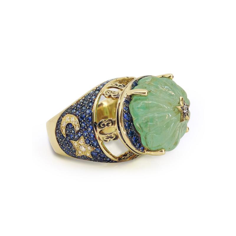 Glenn Bradford Fine Jewelry Heaven Earth Emerald Cocktail Ring