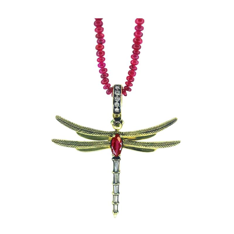 Glenn Bradford Fine Jewelry Ruby Dragonfly Charm in 18kt Green Gold