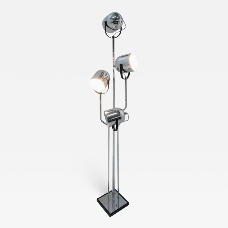 Goffredo Reggiani Reggiani 4 Head Chrome and Black Floor Lamp