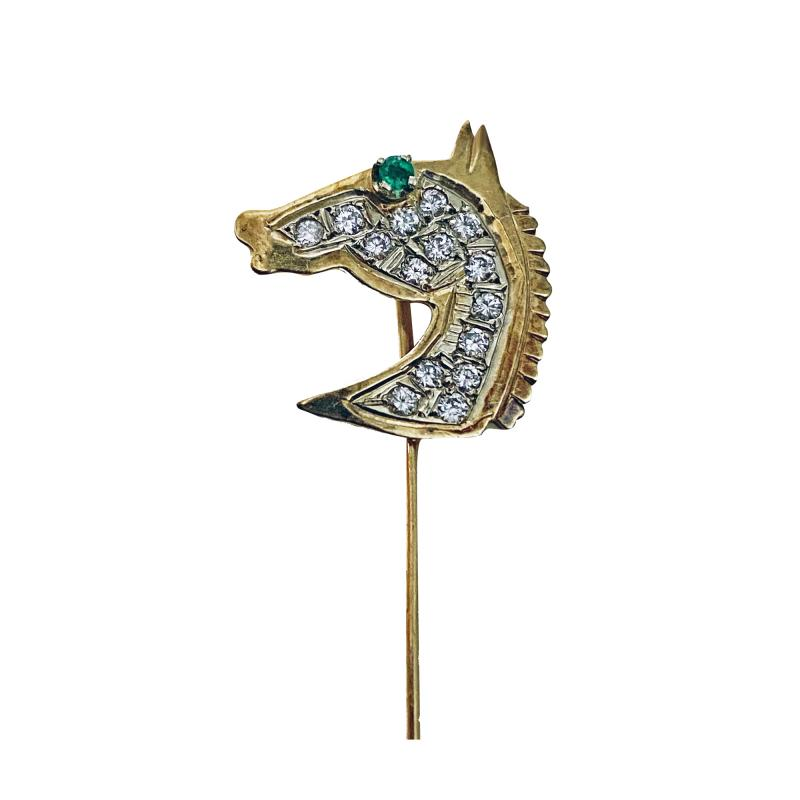Gold Diamond Emerald Horses head Stickpin 20th century