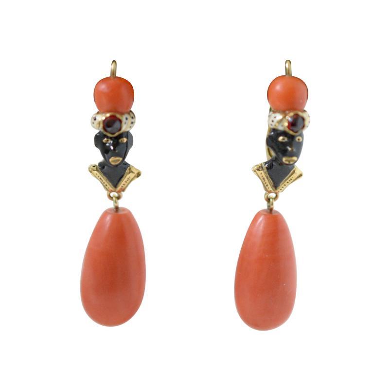 Gold Enamel and Coral Blackamoor Earrings