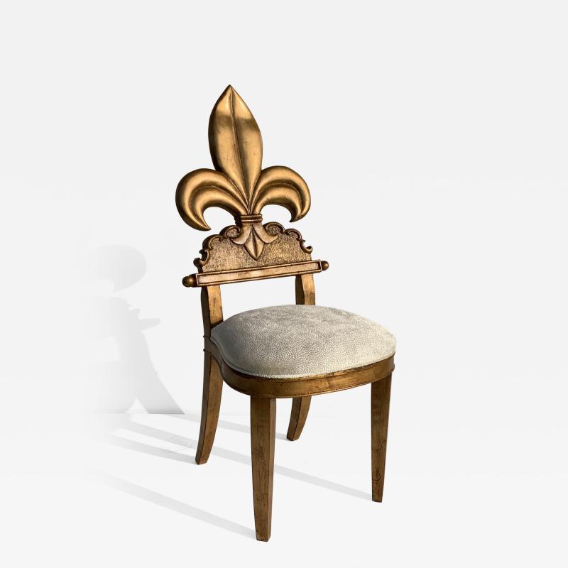 Gold Leaf Fleur de Lis Vanity Chair