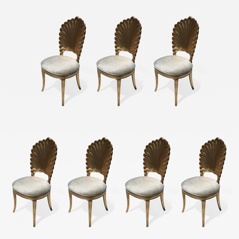 Gold Leafed Venetian Grotto Style Shell Side Chairs