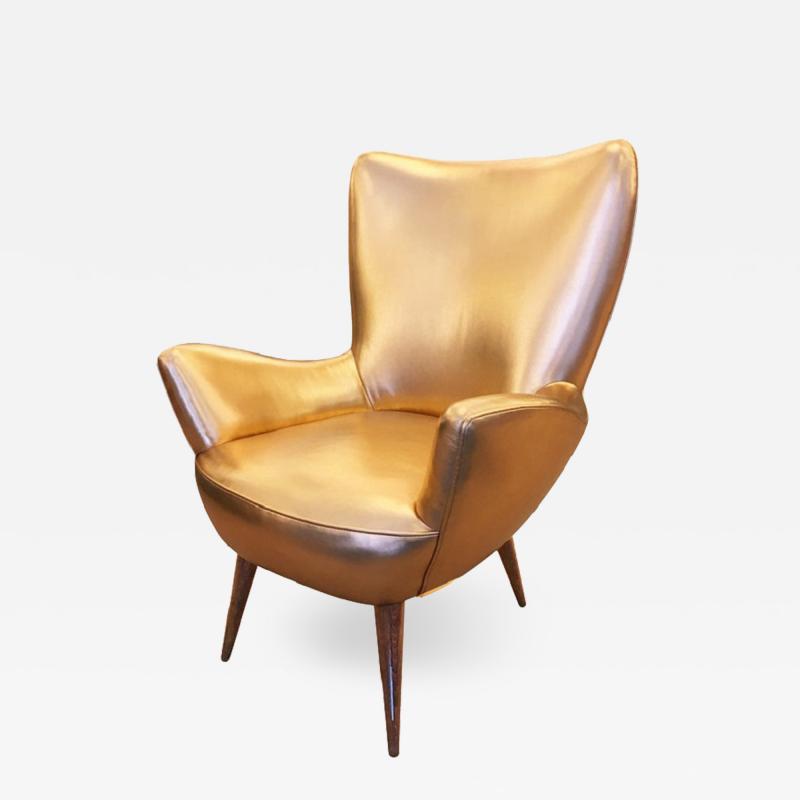 Gold Leather Italian Mid Century Armchair