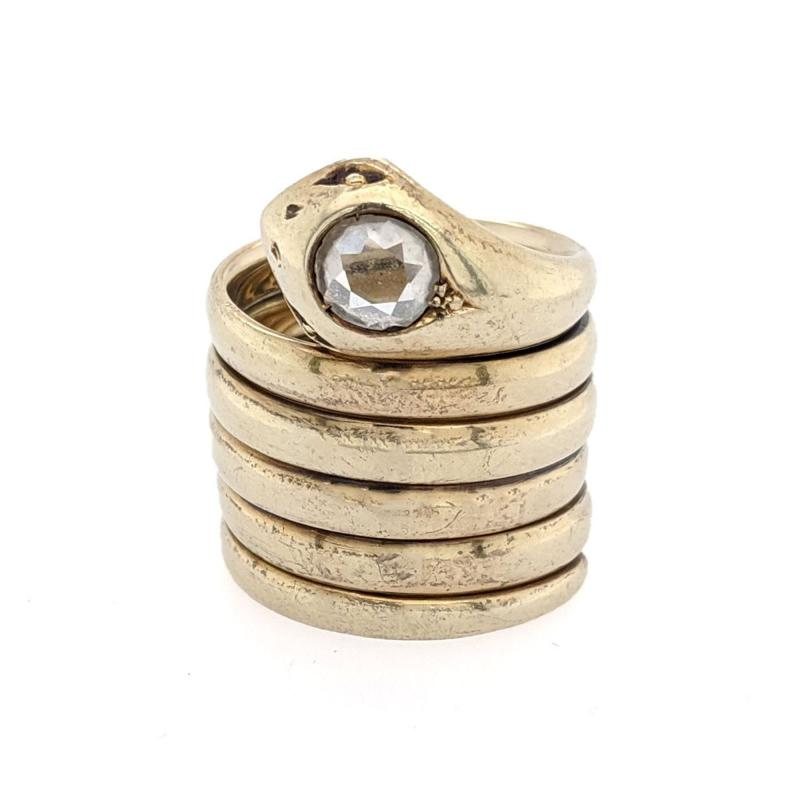 Gold Rose Cut Diamond Wrap Snake Ring