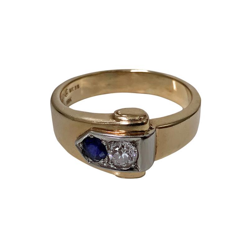 Gold Sapphire and Diamond Ring 20th century